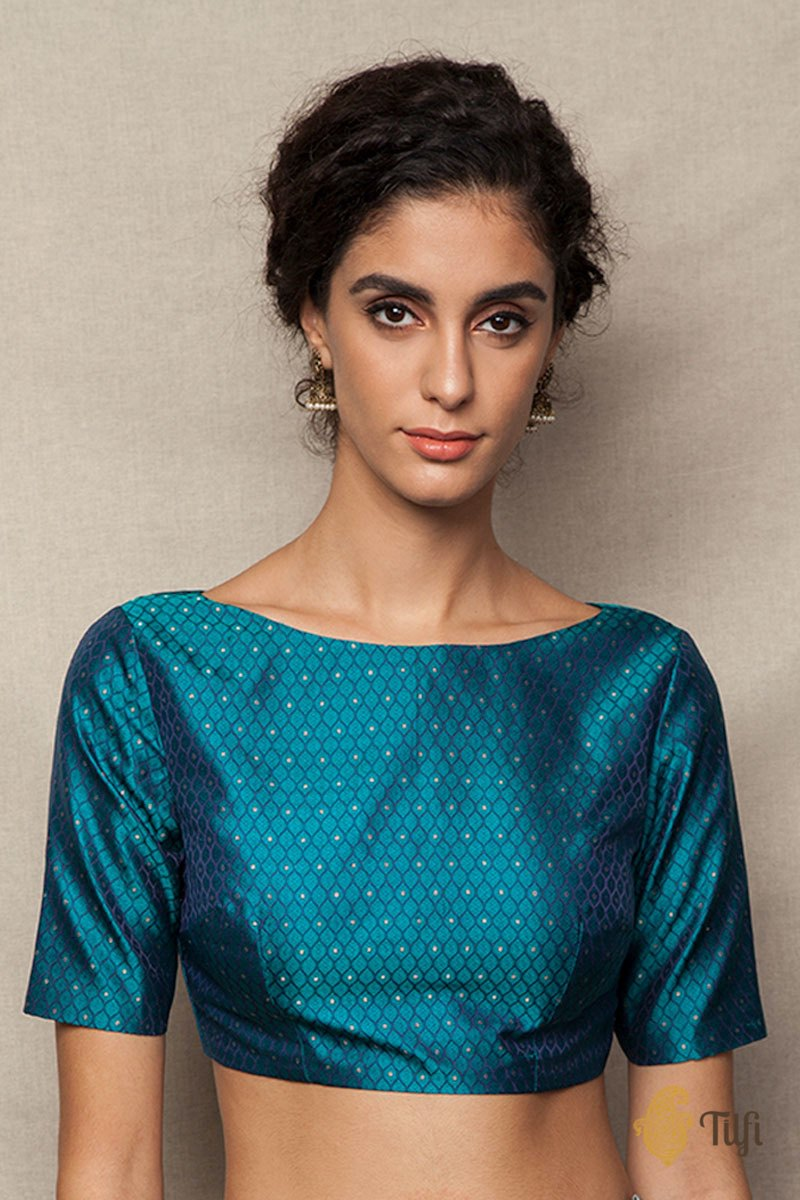 Teal Green Tanchoi Boat Neck Blouse