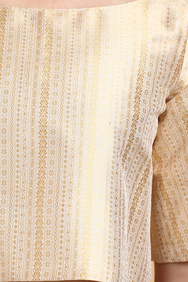 Gold Handwoven Tanchoi Silk Flared Blouse