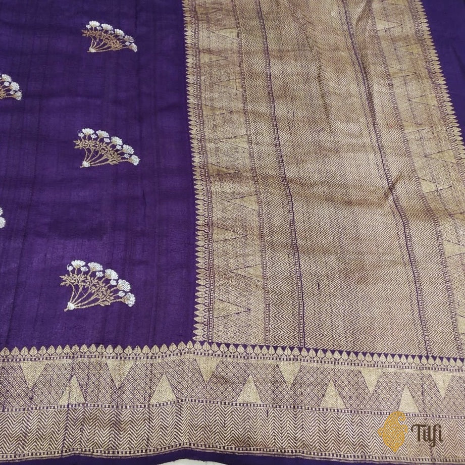 Purple Tussar Georgette Silk Banarasi Handloom Saree