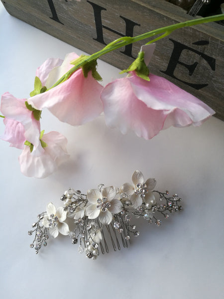 Ivory Floral Crystal Hair Comb