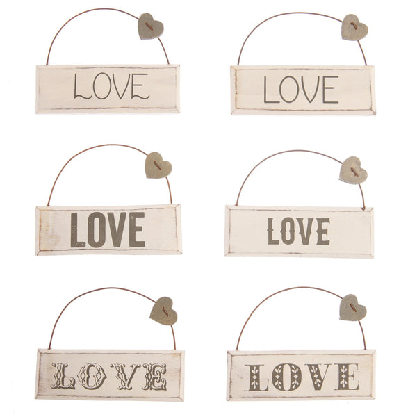 Love Plaque with heart assorted
