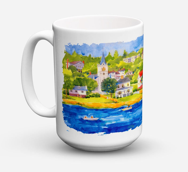 Buy this Harbour Scene with Sailboat Dishwasher Safe Microwavable Ceramic Coffee Mug 15 ounce 6031CM15