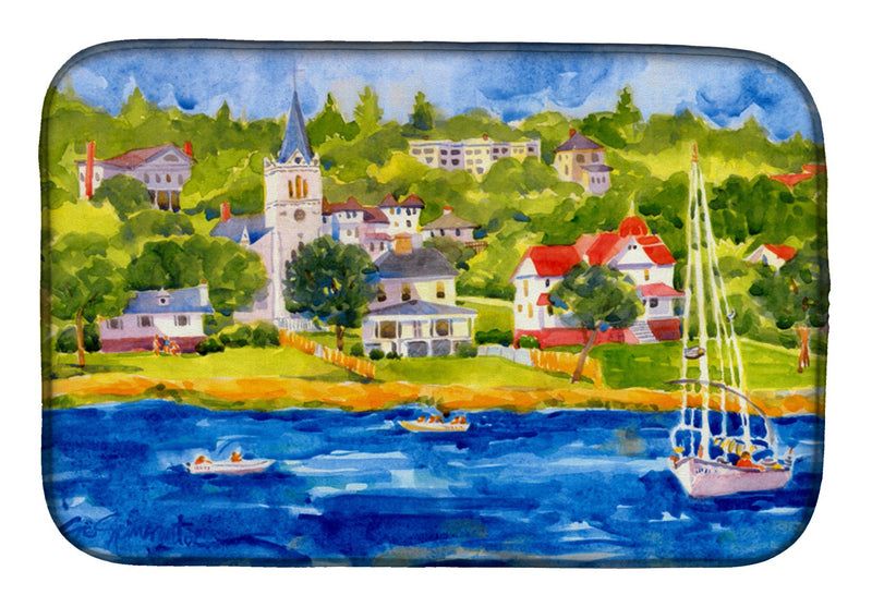 Buy this Harbour Scene with Sailboat Dish Drying Mat 6031DDM