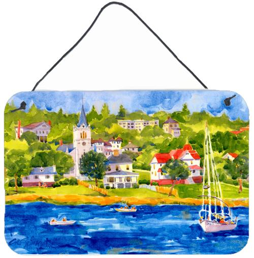 Buy this Harbour Scene with Sailboat  Indoor Aluminium Metal Wall or Door Hanging Prints