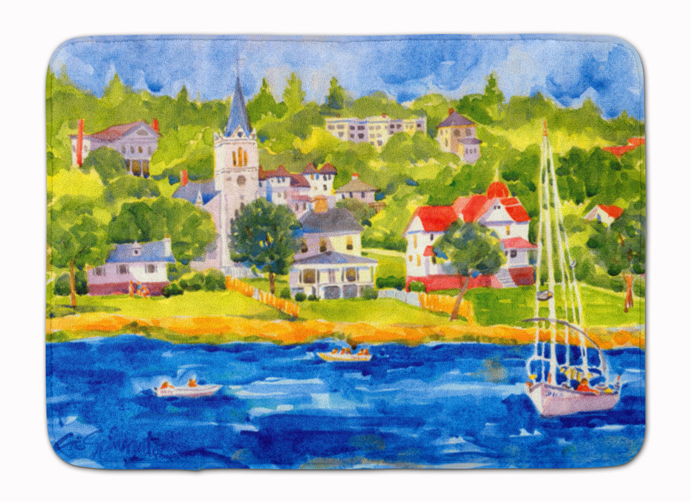 Buy this Harbour Scene with Sailboat Machine Washable Memory Foam Mat 6031RUG
