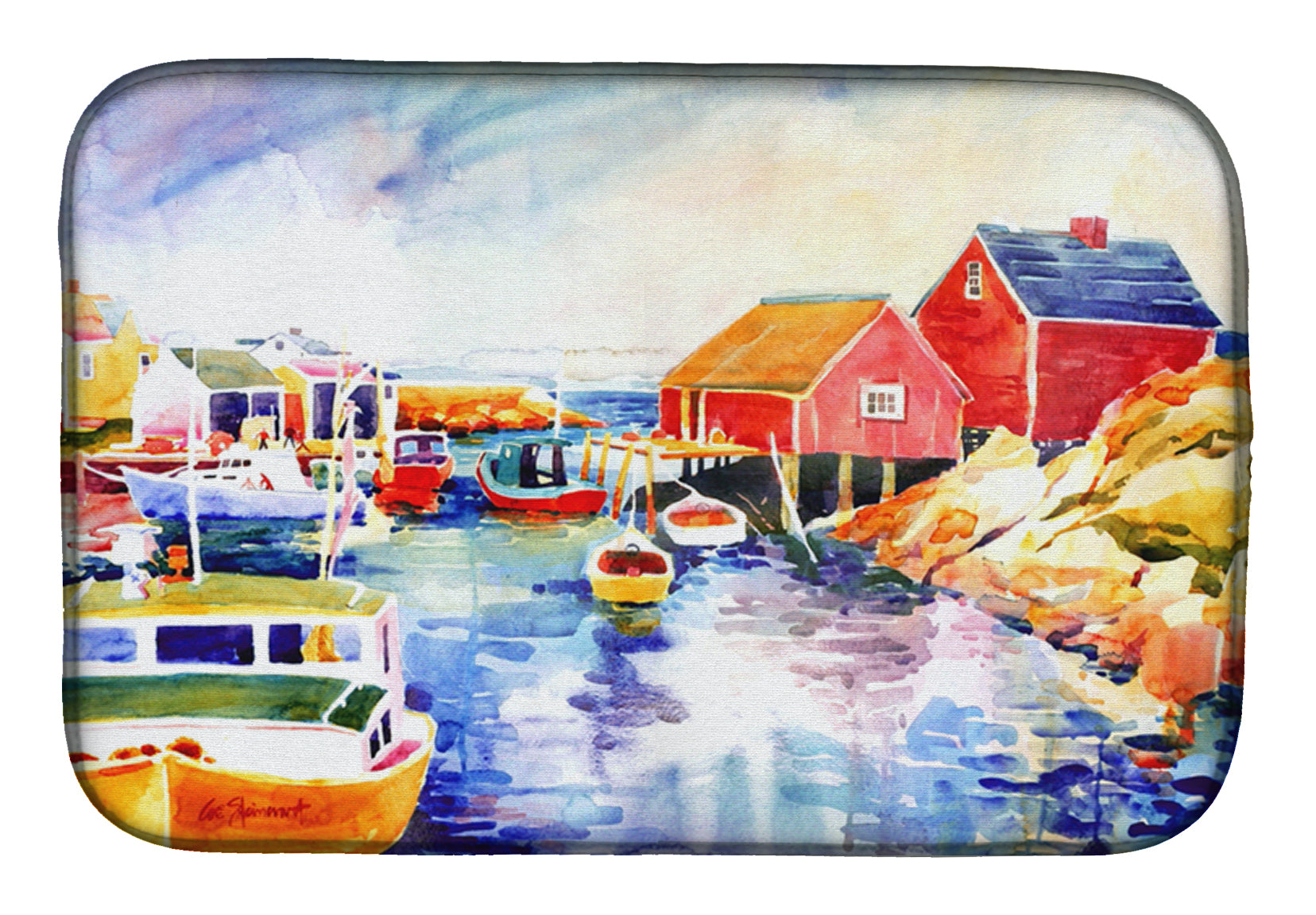 Buy this Boats at Harbour with a view Dish Drying Mat 6059DDM