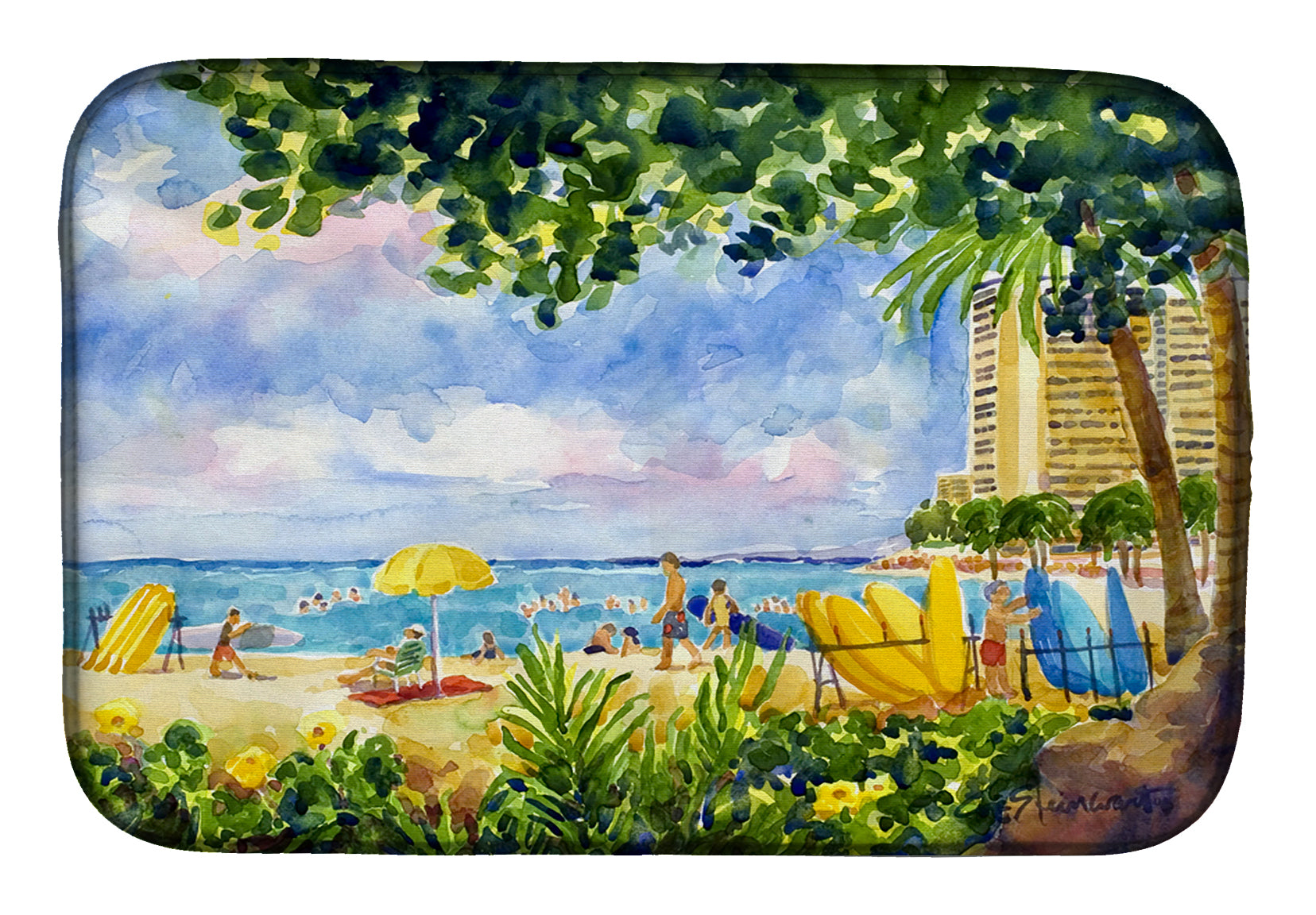 Buy this Beach Resort view from the condo Dish Drying Mat 6065DDM