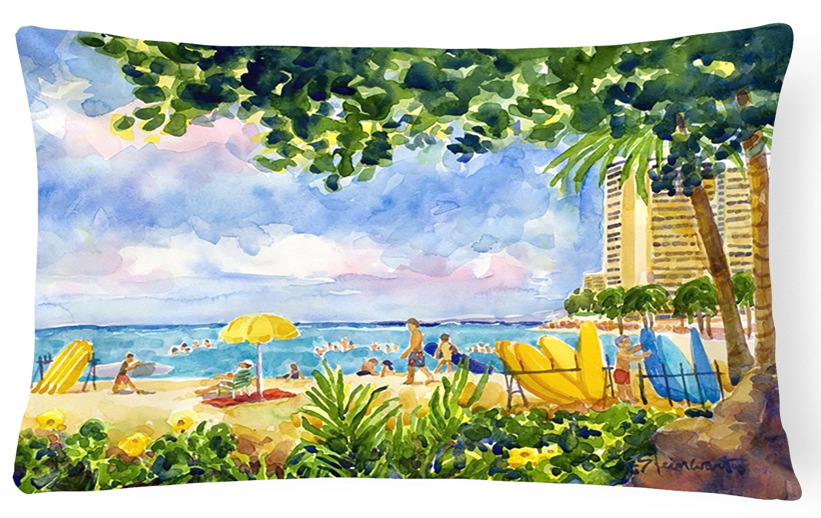 Beach Resort view from the condo  Decorative   Canvas Fabric Pillow - the-store.com