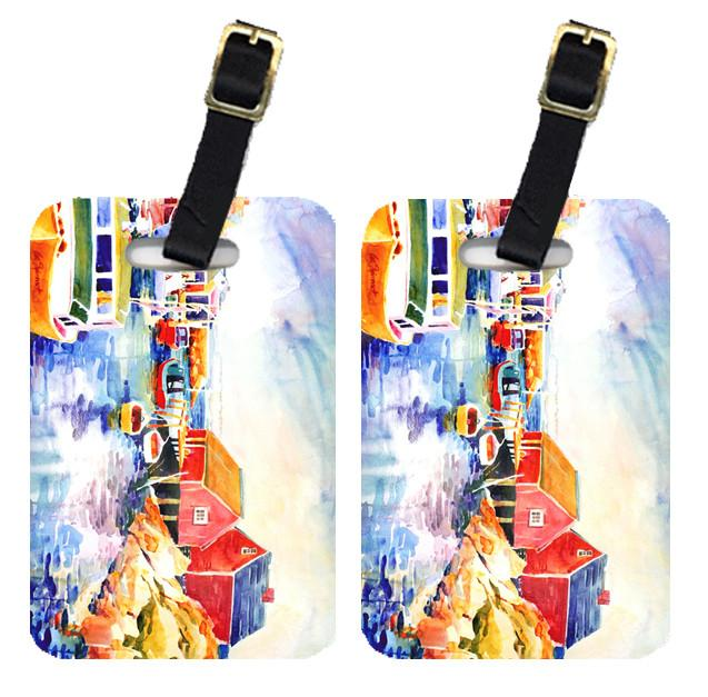 Buy this Pair of 2 Boats at Harbour with a view Luggage Tags