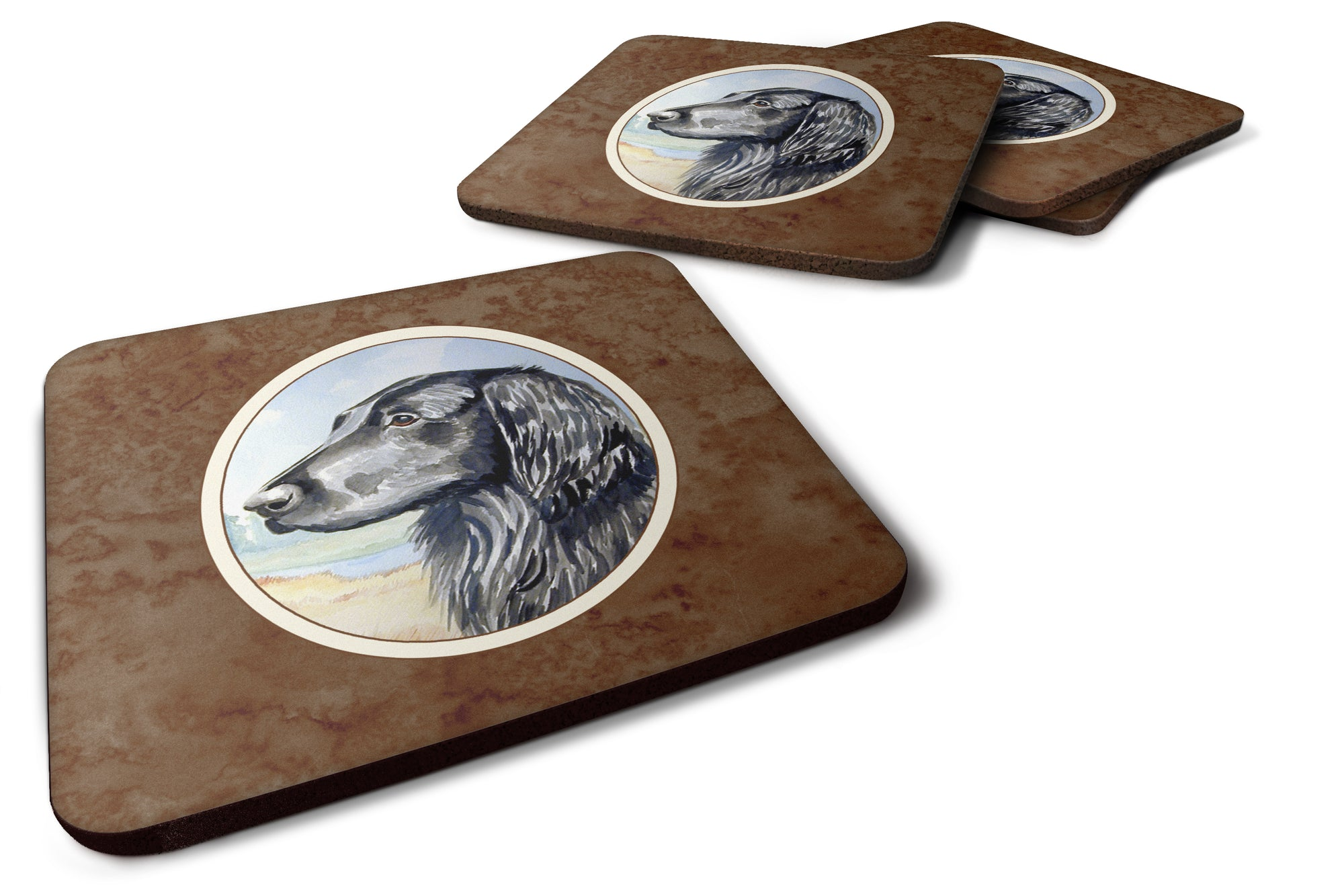Buy this Flat Coated Retriever Foam Coaster Set of 4 7064FC