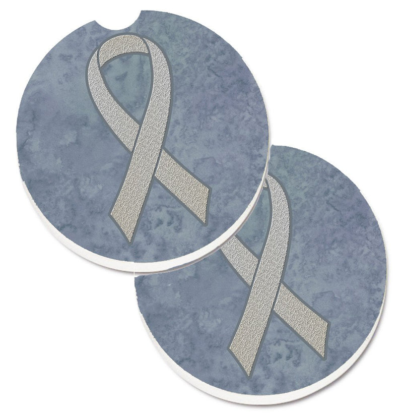 Buy this Clear Ribbon for Lung Cancer Awareness Set of 2 Cup Holder Car Coasters AN1210CARC