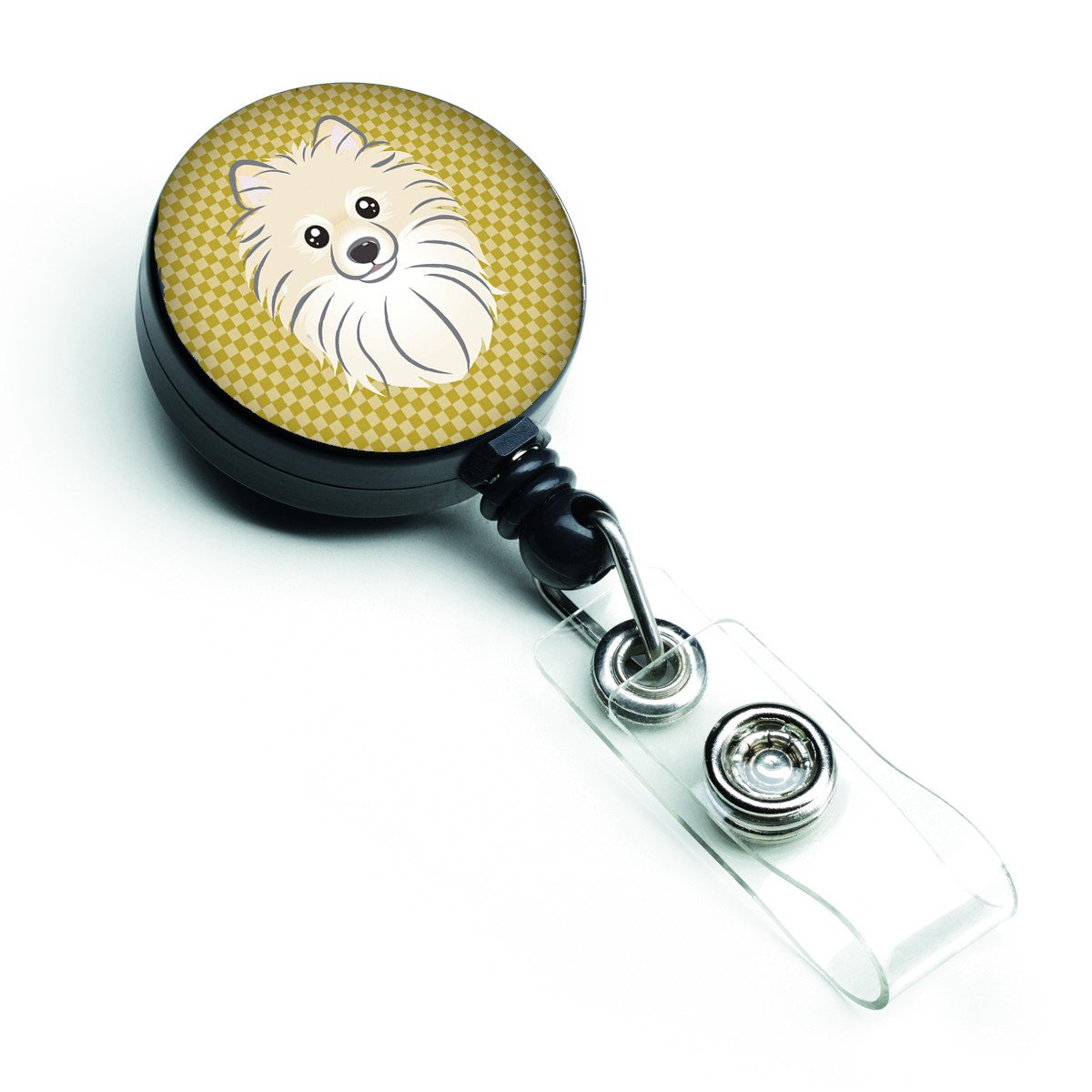 Buy this Tan Checkered Pomeranian Retractable Badge Reel BB1135BR
