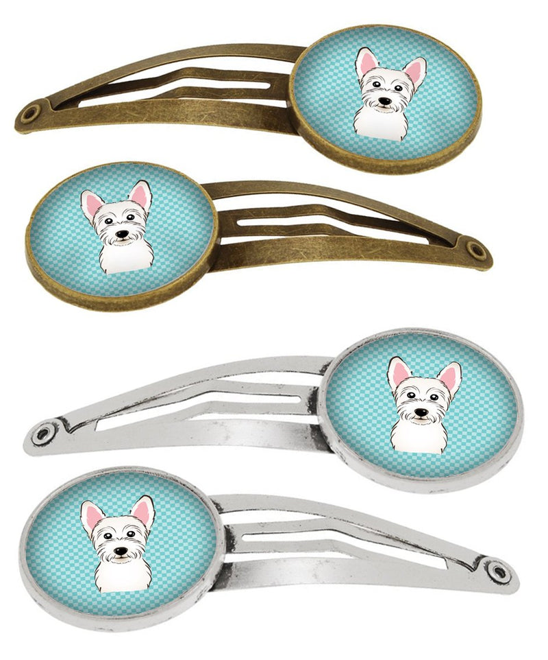 Buy this Checkerboard Blue Westie Set of 4 Barrettes Hair Clips BB1164HCS4