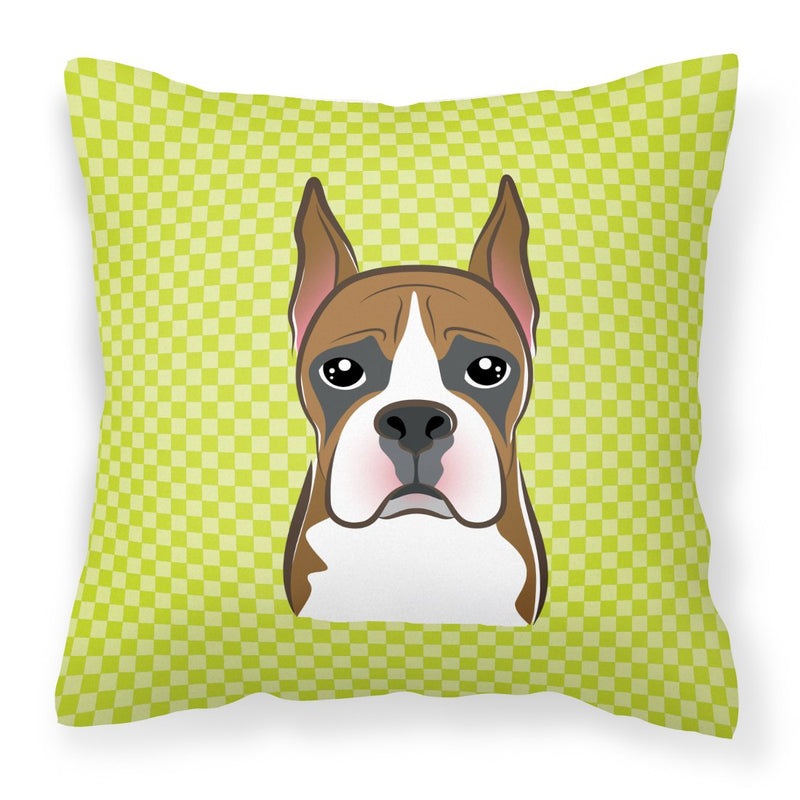 Buy this Checkerboard Lime Green Boxer Canvas Fabric Decorative Pillow