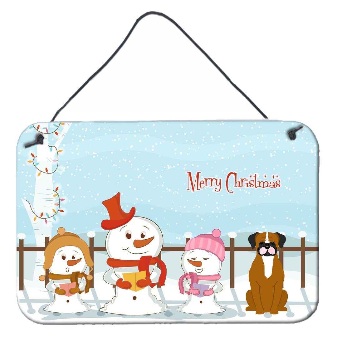 Buy this Merry Christmas Carolers Flashy Fawn Boxer Wall or Door Hanging Prints BB2447DS812