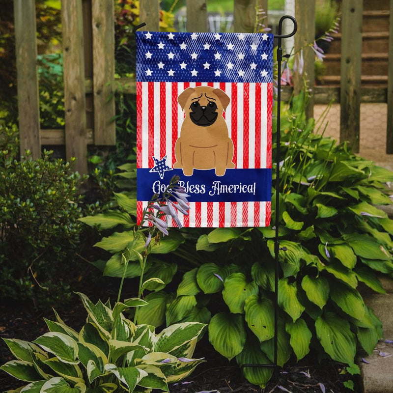 Buy this Patriotic USA Pug Brown Flag Garden Size BB3002GF