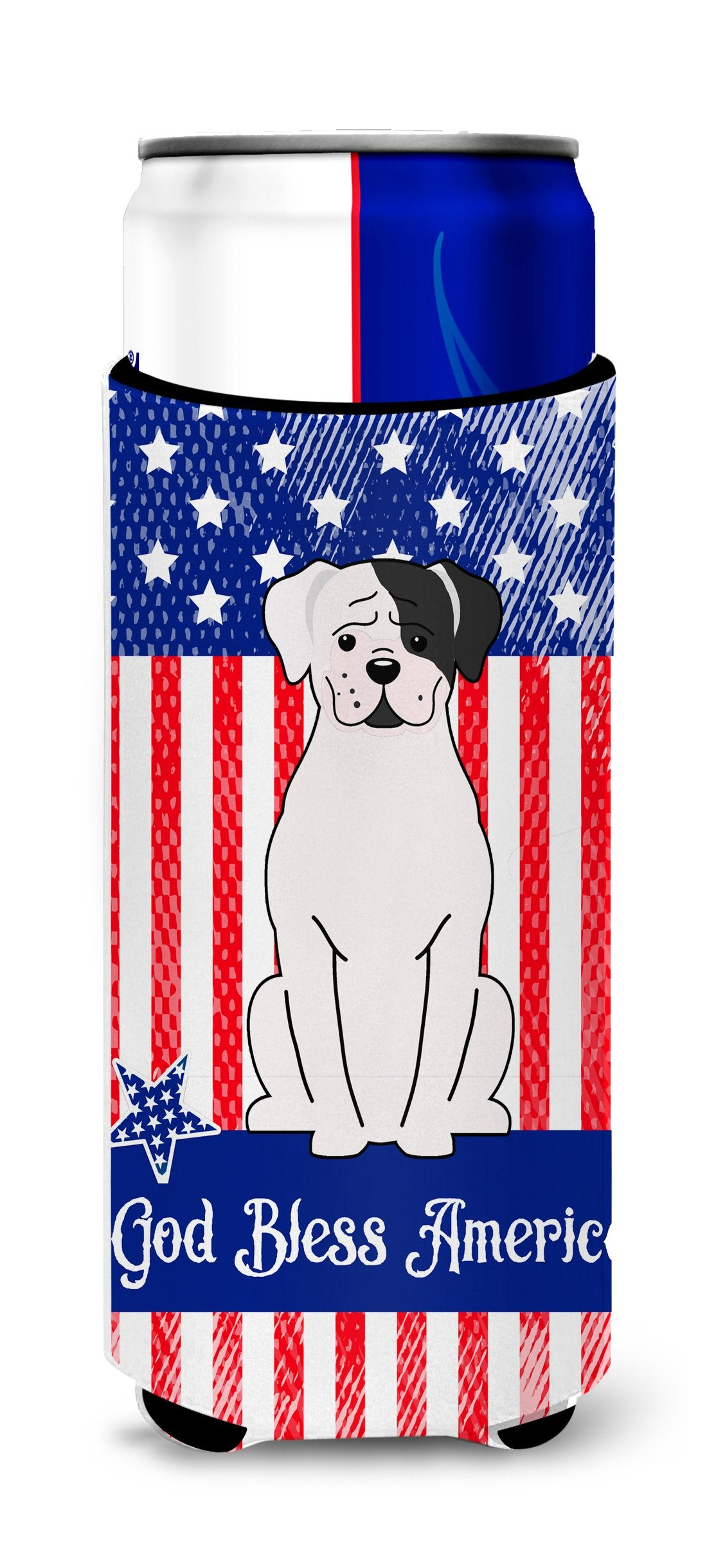 Buy this Patriotic USA White Boxer Cooper Michelob Ultra Hugger for slim cans BB3109MUK