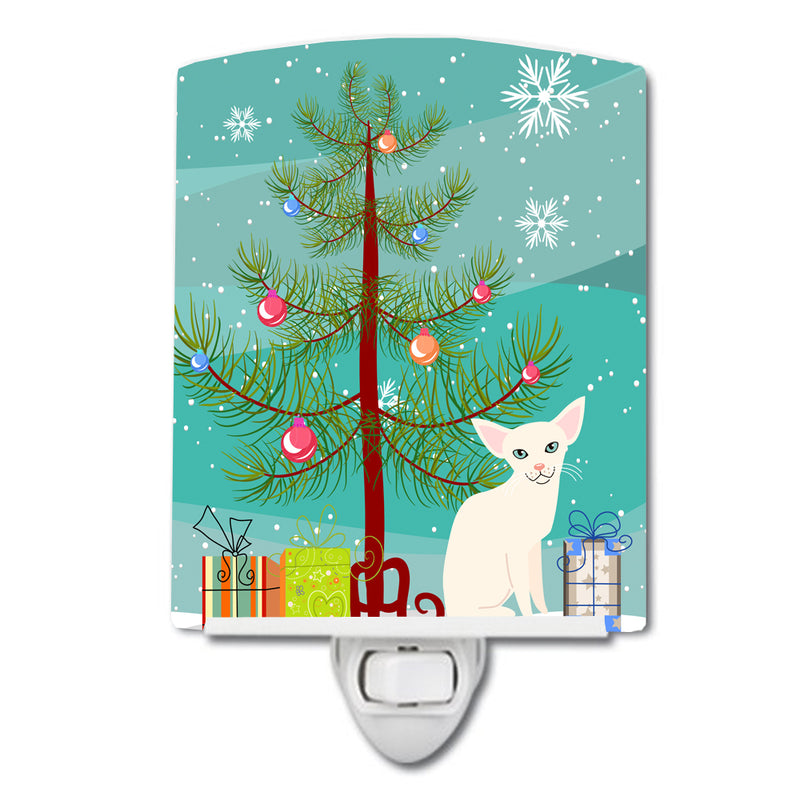 Buy this Foreign White Cat Merry Christmas Tree Ceramic Night Light BB4420CNL