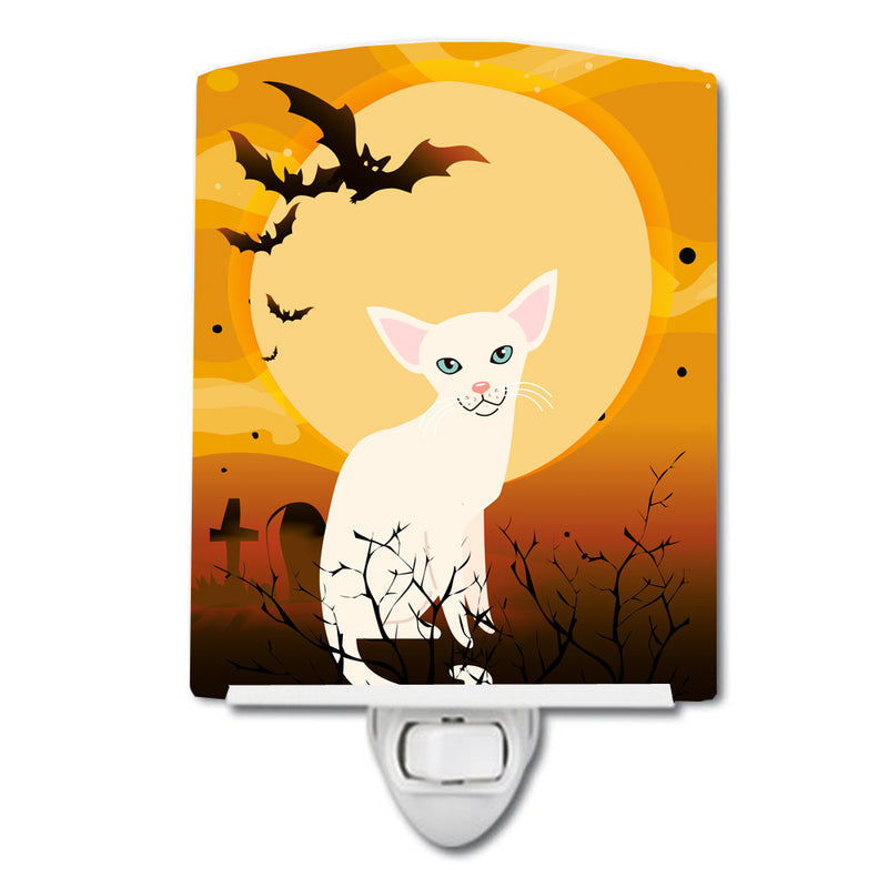 Buy this Halloween Foreign White Cat Ceramic Night Light BB4445CNL