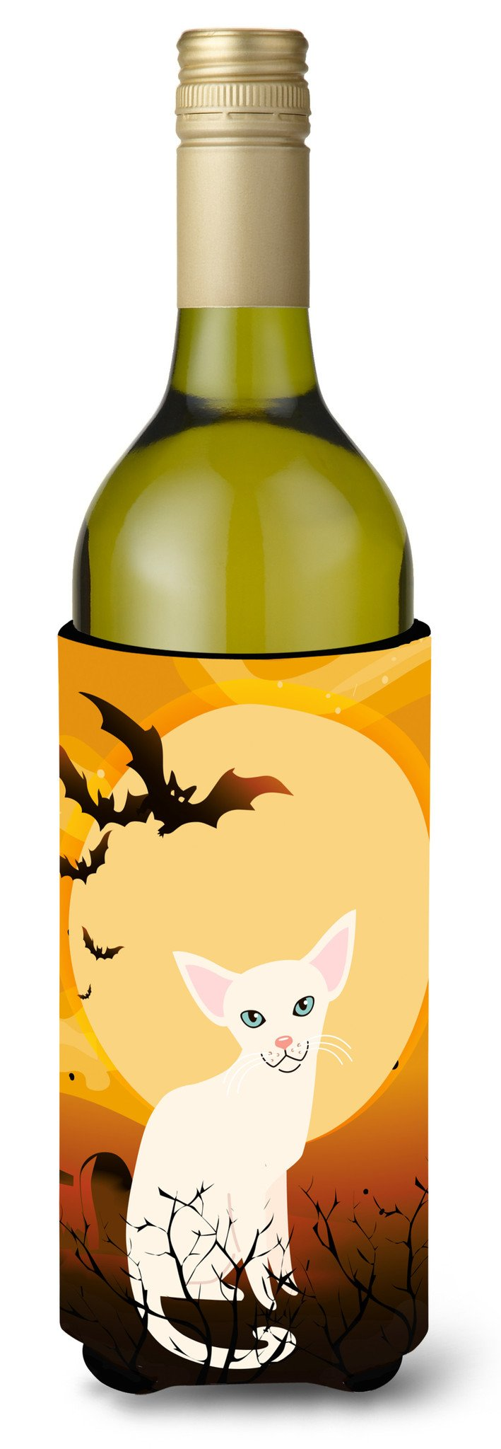 Buy this Halloween Foreign White Cat Wine Bottle Beverge Insulator Hugger BB4445LITERK