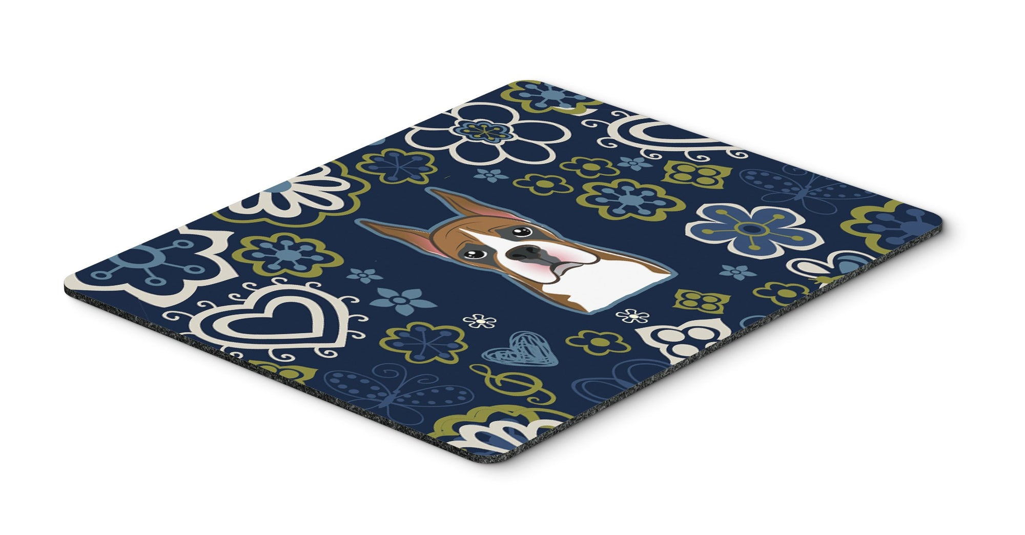 "Buy this ""Blue Flowers Boxer Mouse Pad, Hot Pad or Trivet"""