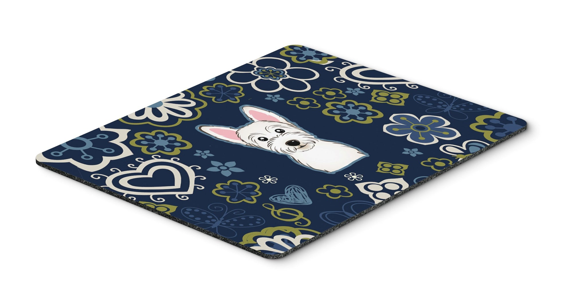 Buy this Blue Flowers Westie Mouse Pad, Hot Pad or Trivet""