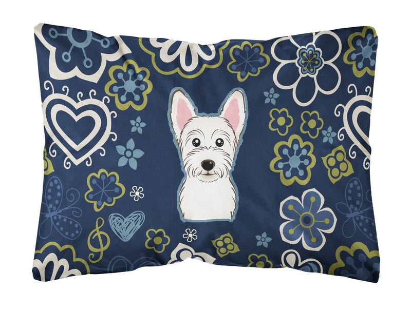 Buy this Blue Flowers Westie Canvas Fabric Decorative Pillow BB5077PW1216