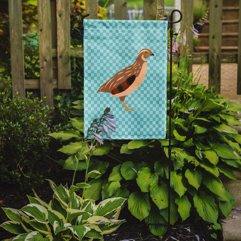 Buy this Golden Phoenix Quail Blue Check Flag Garden Size