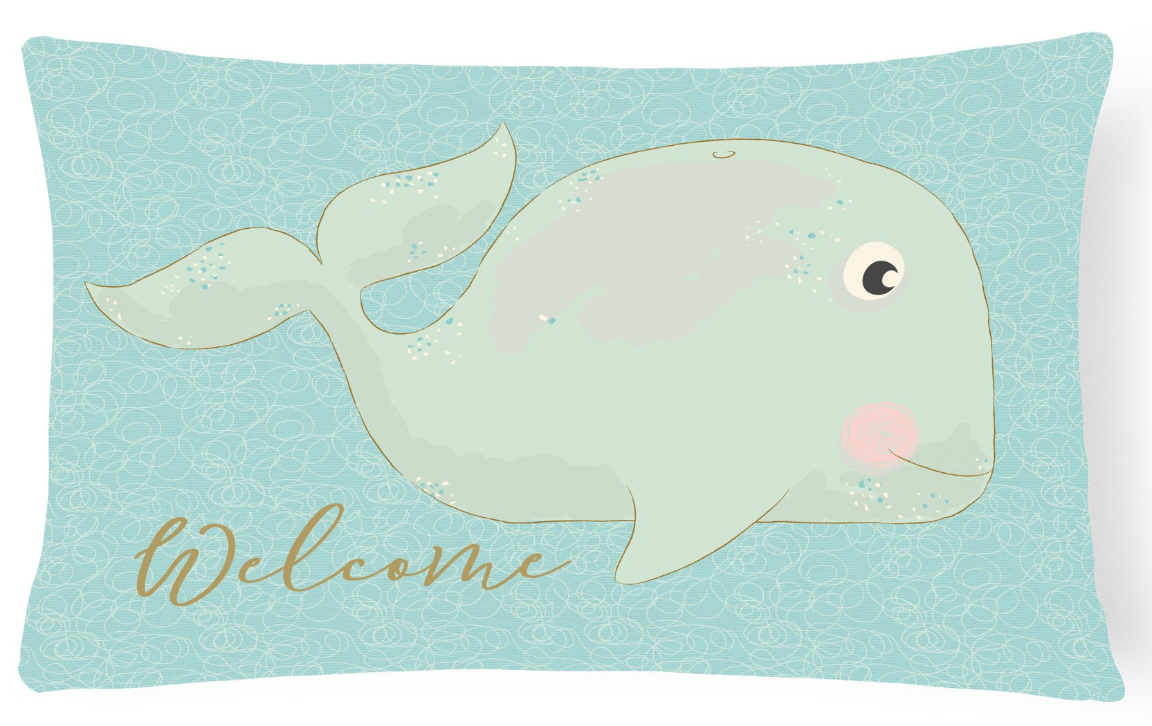 Buy this Whale Welcome Canvas Fabric Decorative Pillow BB8533PW1216