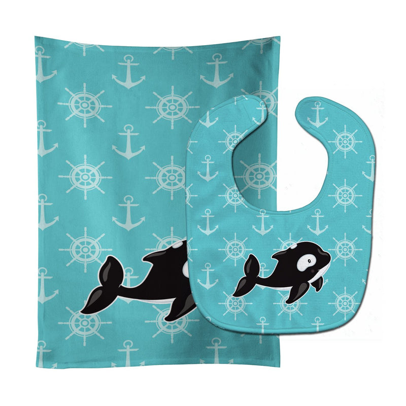 Buy this Whale and Anchors Baby Bib & Burp Cloth BB8602STBU