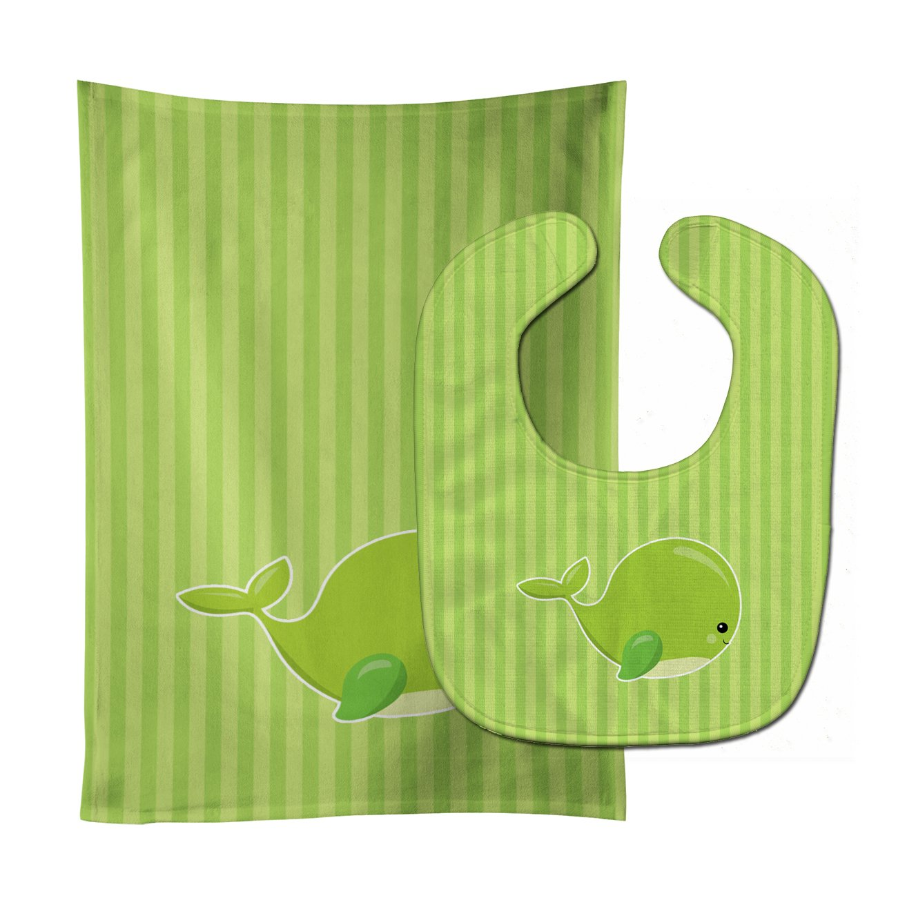 Buy this Nautical Whale Green Charlie Baby Bib & Burp Cloth BB8881STBU