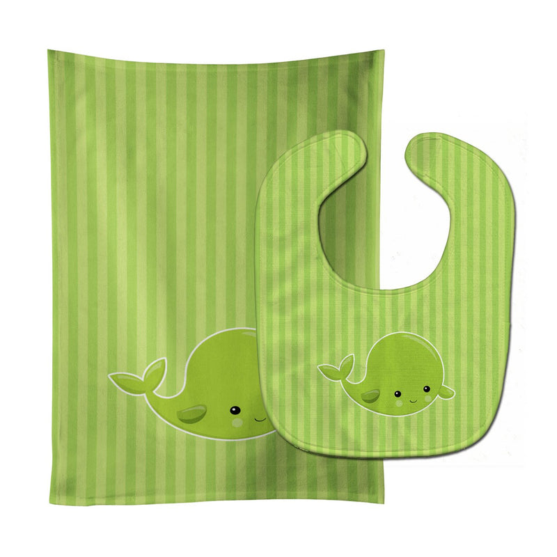 Buy this Nautical Whale Green Baby Bib & Burp Cloth BB8882STBU