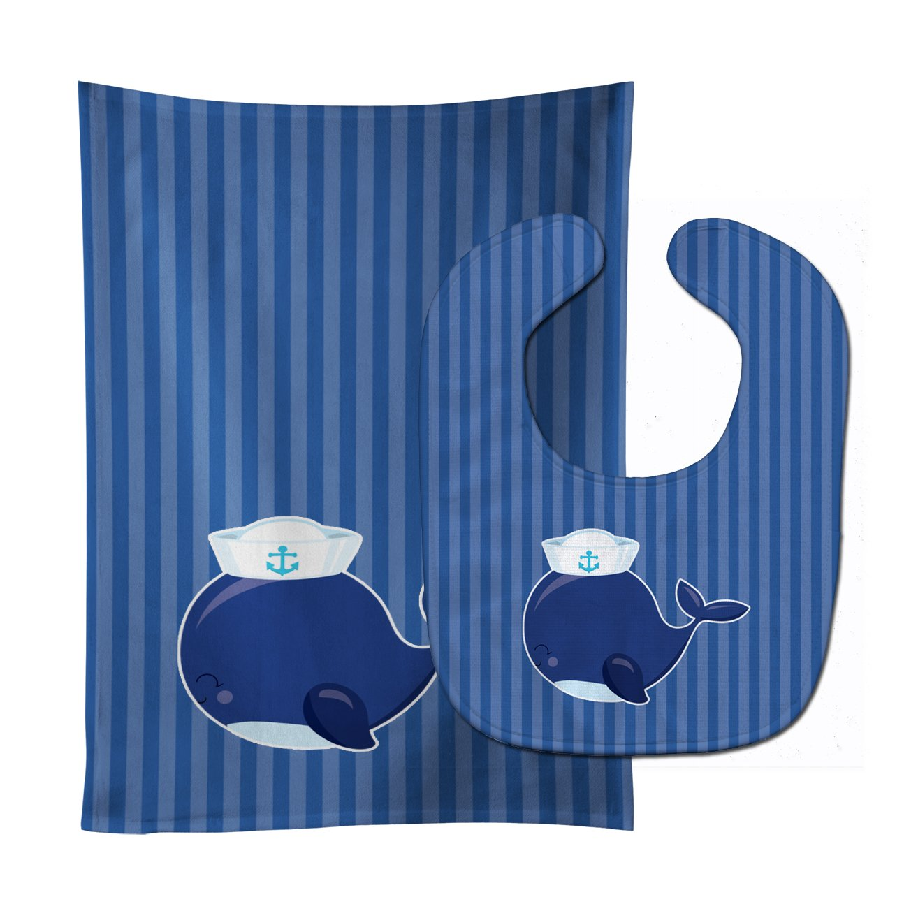 Buy this Nautical Whale Blue Baby Bib & Burp Cloth BB8884STBU