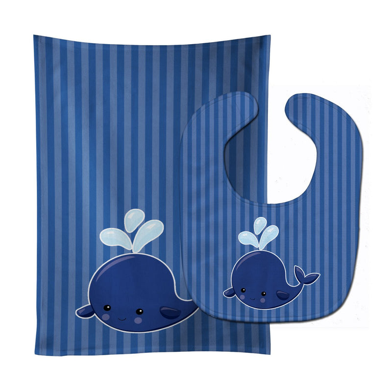 Buy this Nautical Whale Blue #2 Baby Bib & Burp Cloth BB8885STBU