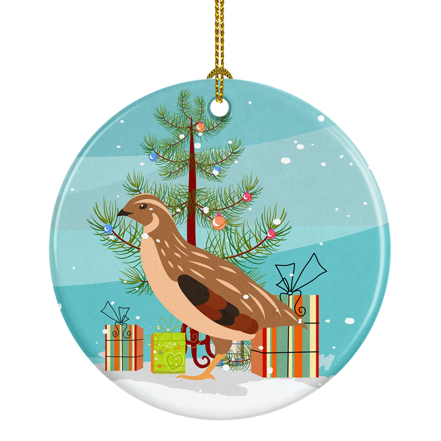 Buy this Golden Phoenix Quail Christmas Ceramic Ornament BB9322CO1