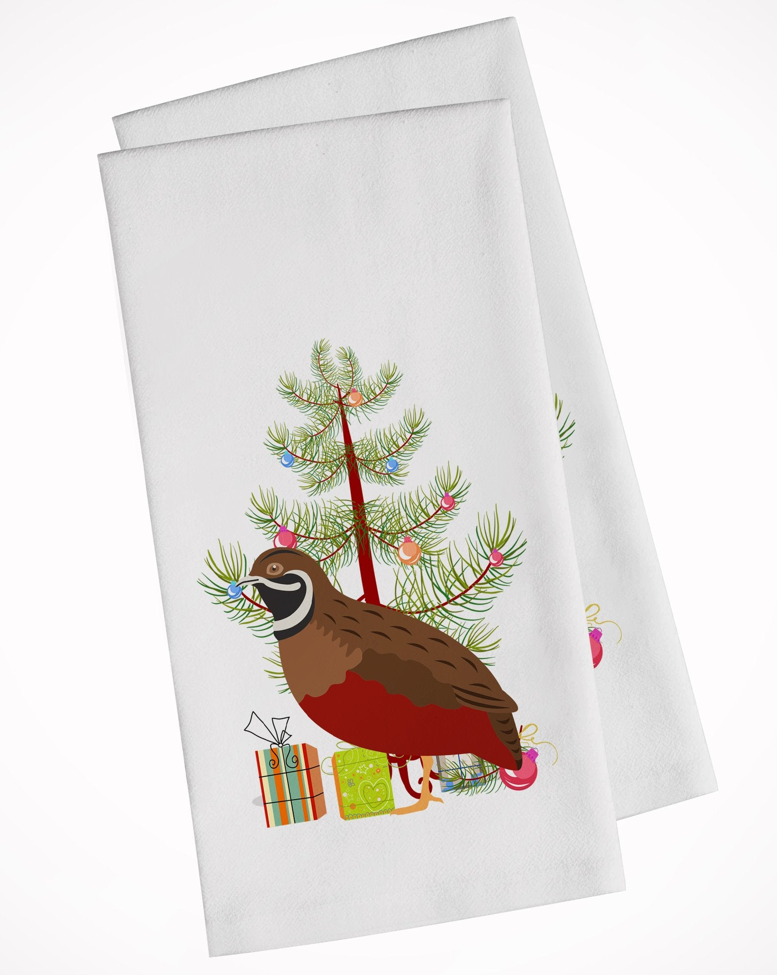 Buy this Chinese Painted or King Quail Christmas White Kitchen Towel Set of 2 BB9323WTKT