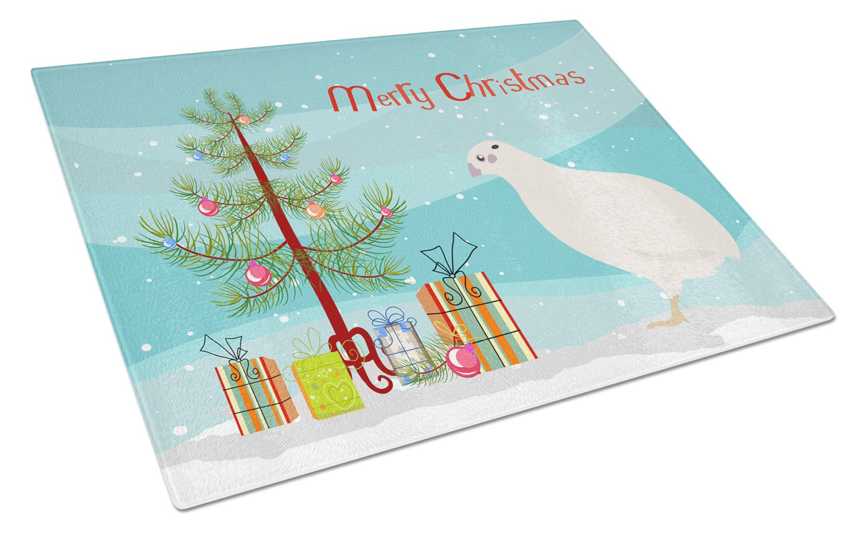 Buy this Texas Quail Christmas Glass Cutting Board Large BB9324LCB