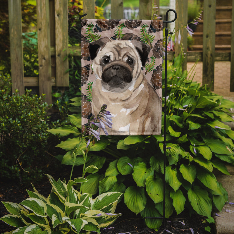 Buy this Fawn Pug Pine Cones Flag Garden Size BB9601GF