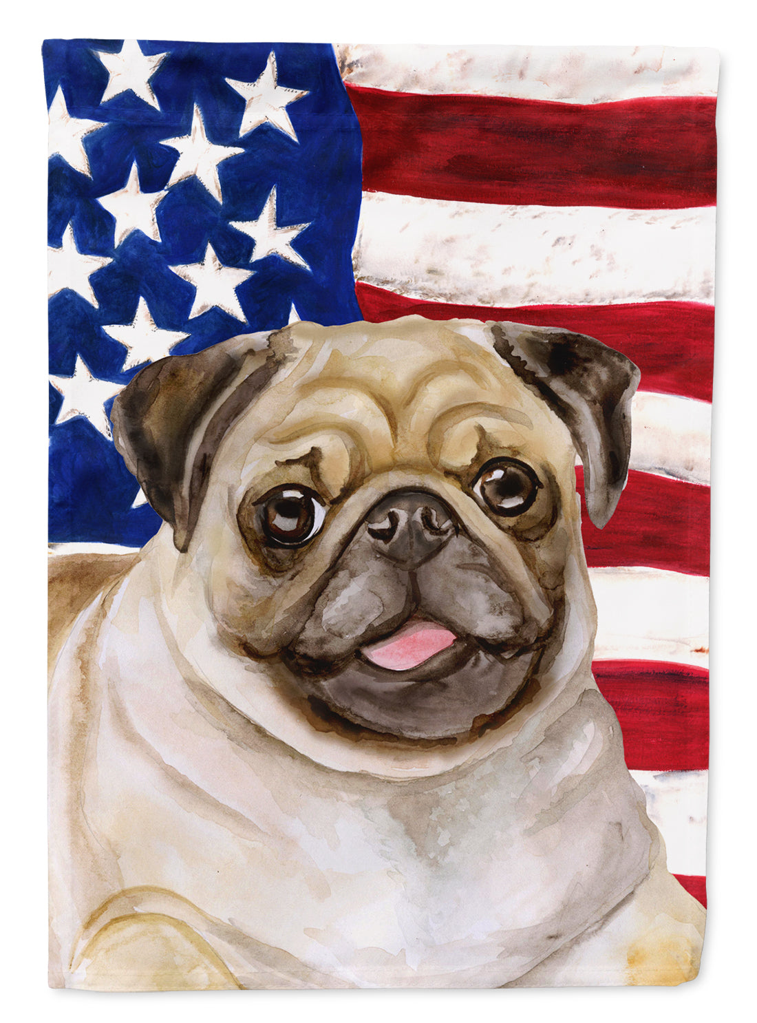 Buy this Fawn Pug Patriotic Flag Garden Size BB9718GF