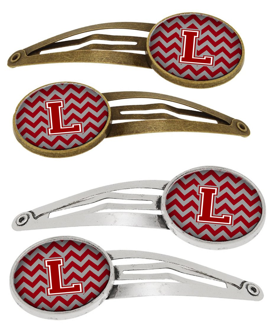Buy this Letter L Chevron Maroon and White Set of 4 Barrettes Hair Clips CJ1049-LHCS4