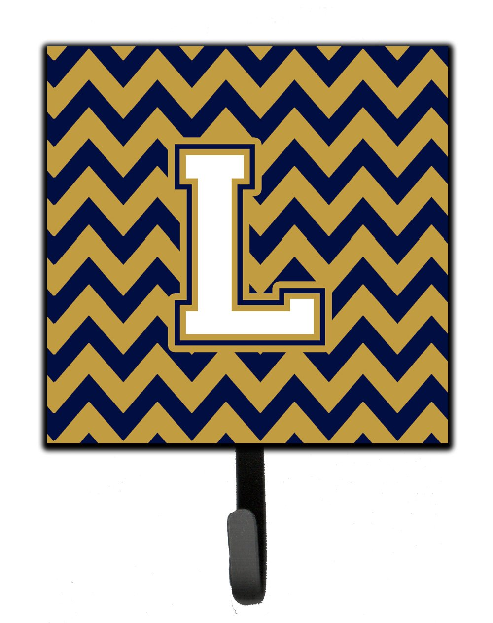 Buy this Letter L Chevron Navy Blue and Gold Leash or Key Holder
