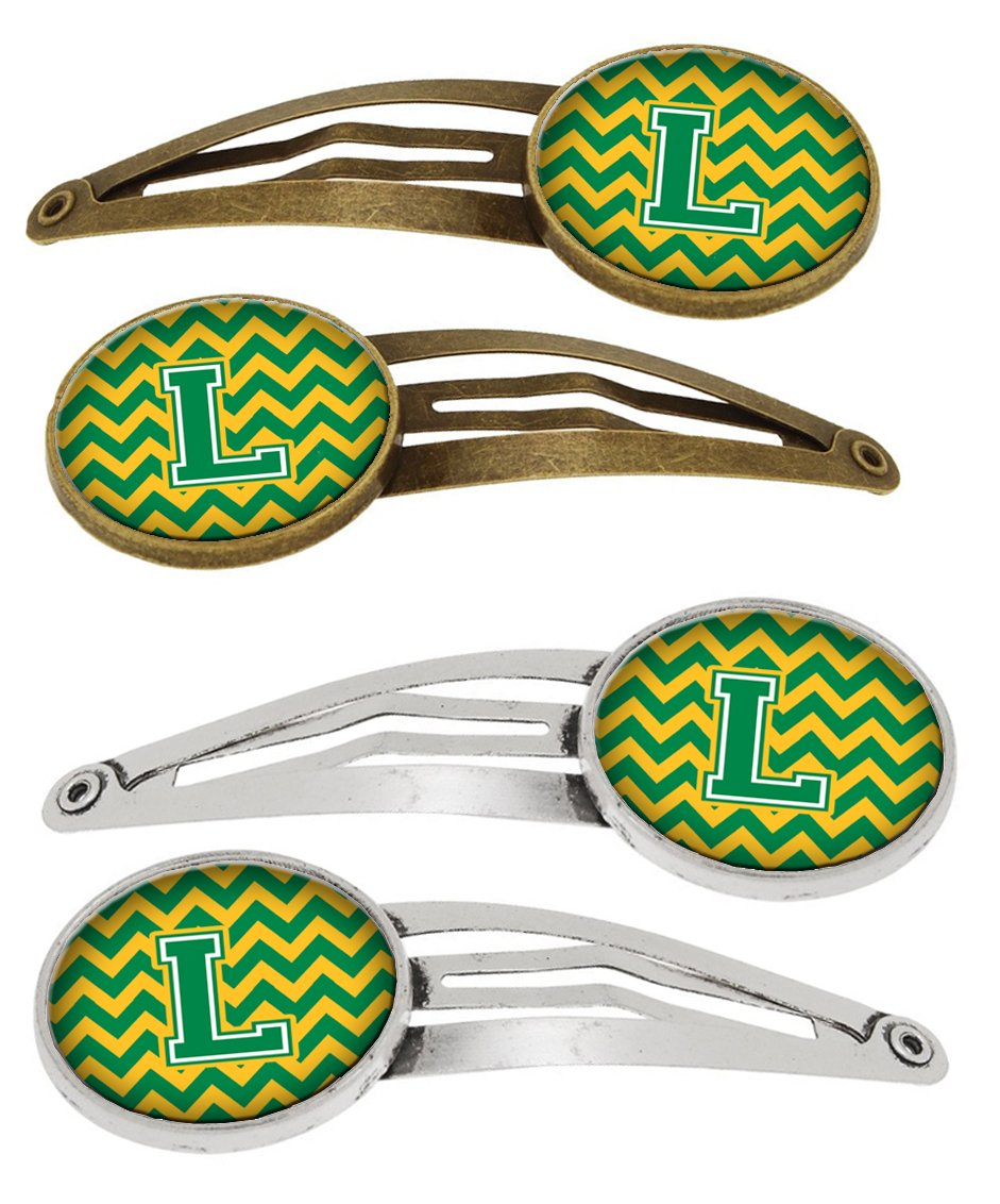 Buy this Letter L Chevron Green and Gold Set of 4 Barrettes Hair Clips CJ1059-LHCS4