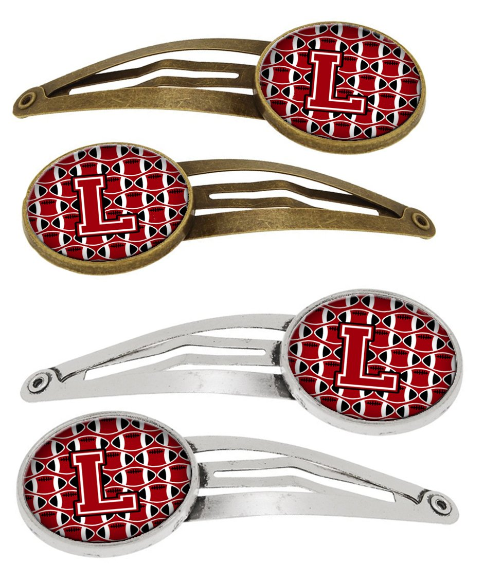 Buy this Letter L Football Red, Black and White Set of 4 Barrettes Hair Clips CJ1073-LHCS4