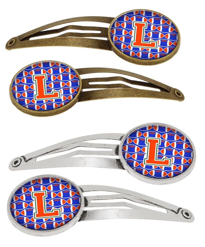 Buy this Letter L Football Green, Blue and Orange Set of 4 Barrettes Hair Clips CJ1083-LHCS4