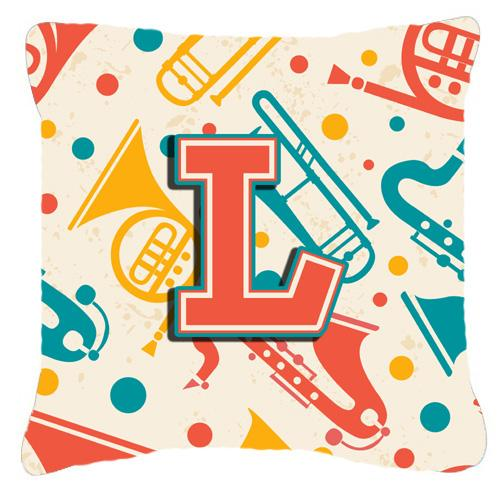 Buy this Letter L Retro Teal Orange Musical Instruments Initial Canvas Fabric Decorative Pillow