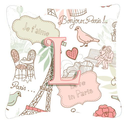 Buy this Letter L Love in Paris Pink Canvas Fabric Decorative Pillow