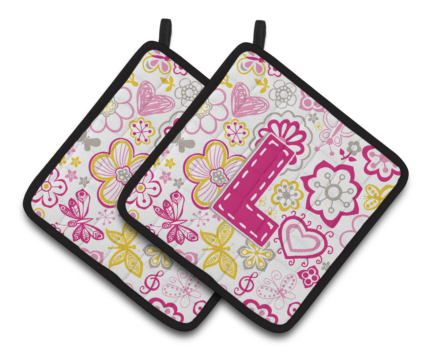 Buy this Letter L Flowers and Butterflies Pink Pair of Pot Holders