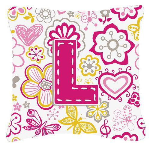 Buy this Letter L Flowers and Butterflies Pink Canvas Fabric Decorative Pillow
