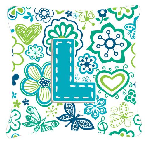 Buy this Letter L Flowers and Butterflies Teal Blue Canvas Fabric Decorative Pillow