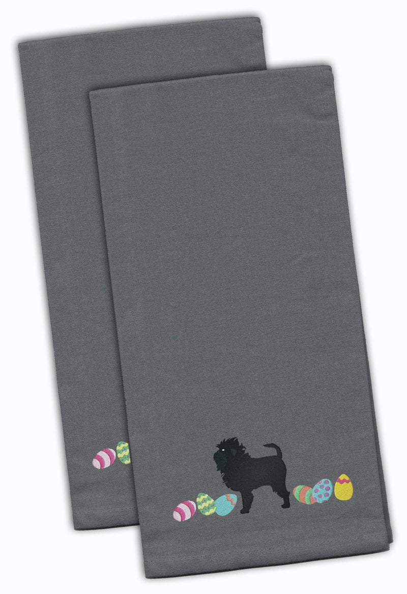 Buy this Affenpinscher Easter Gray Embroidered Kitchen Towel Set of 2 CK1591GYTWE